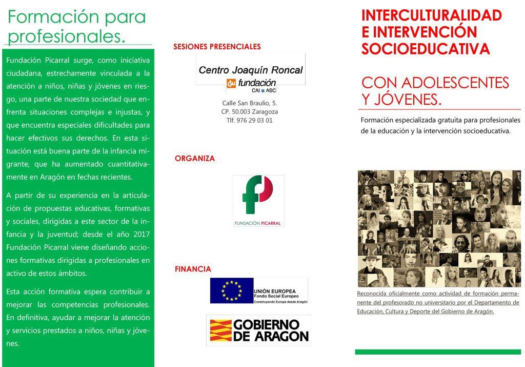 Tríptico Formación Interculturalidad e Intervención Socioeducativa